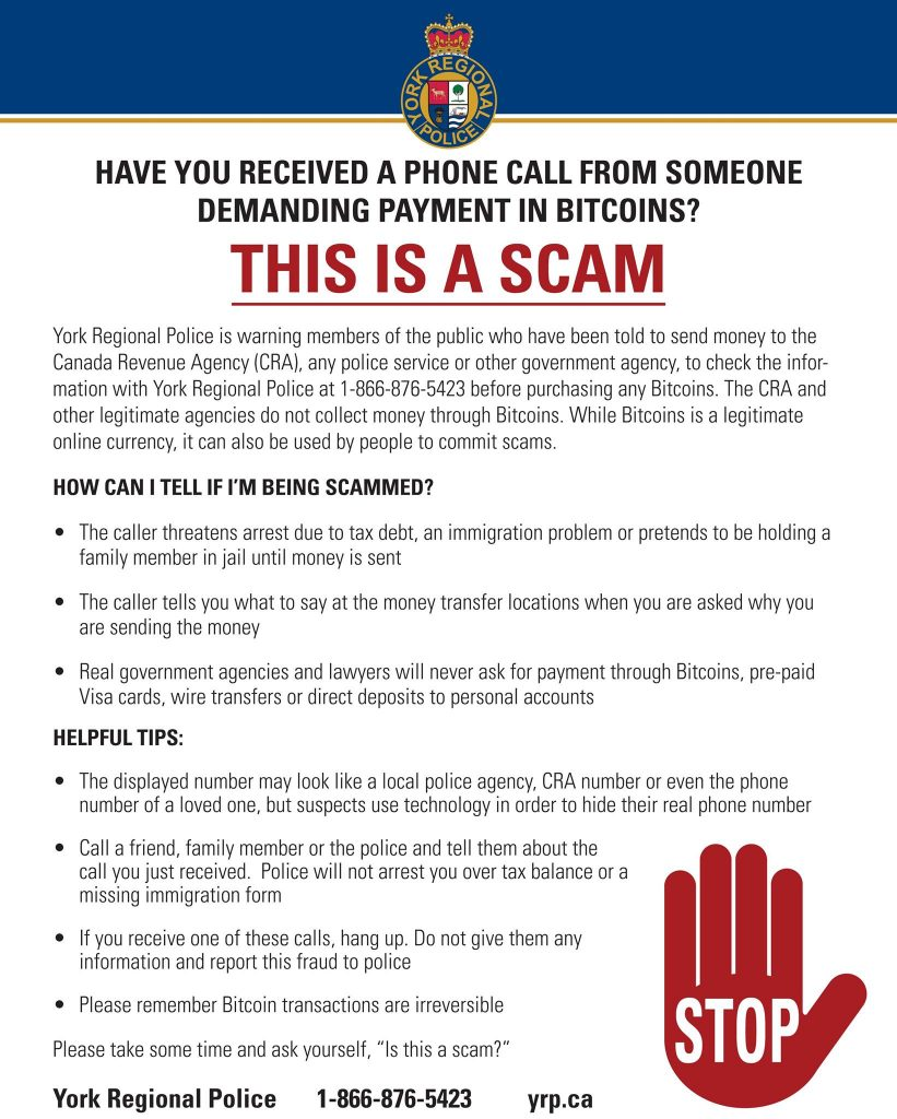 A warning, by the York Regional Police, against scams involving Bitcoin